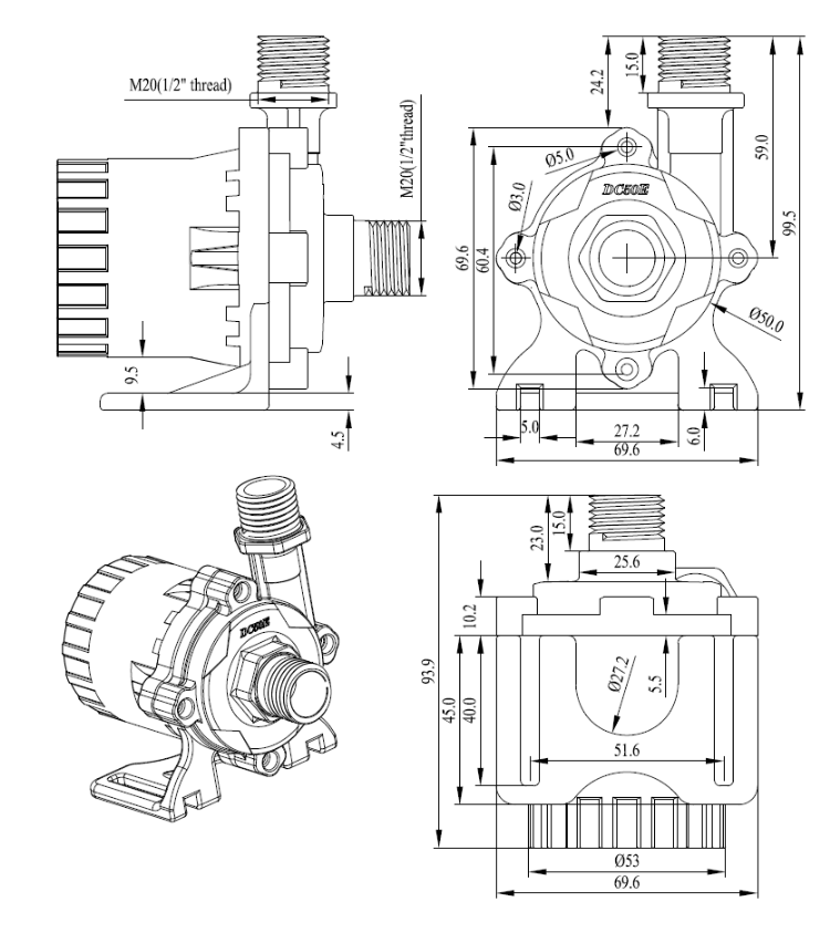 更多 三相直流水泵   pwm或者模拟信号vr(0-5v)调速的接线方法: pwm(5